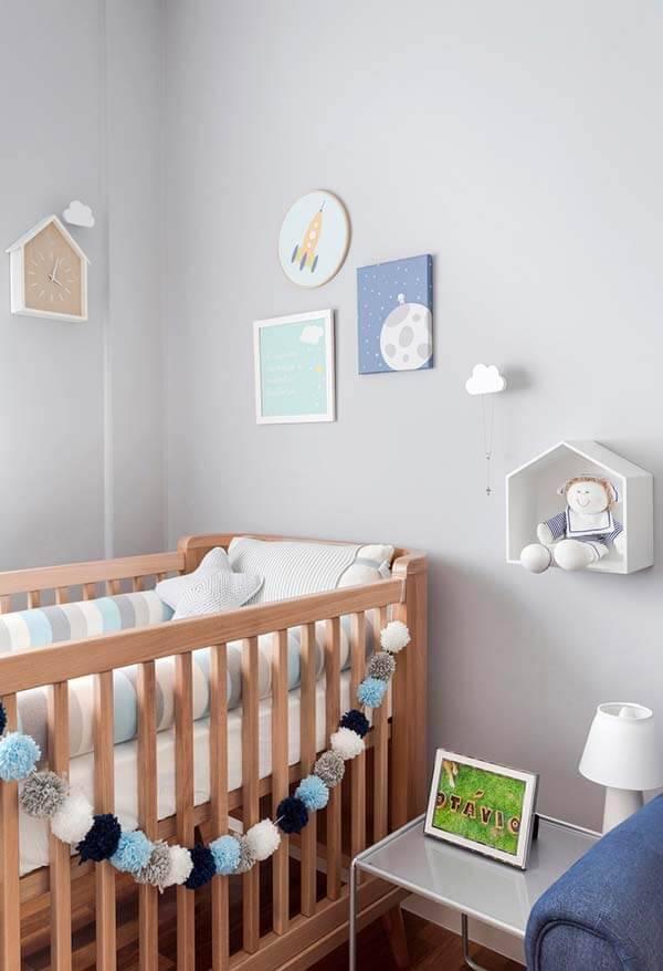 Temas para quarto de bebê azul e branco