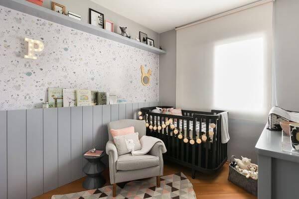 Temas para quarto de bebê cinza, rosa e preto