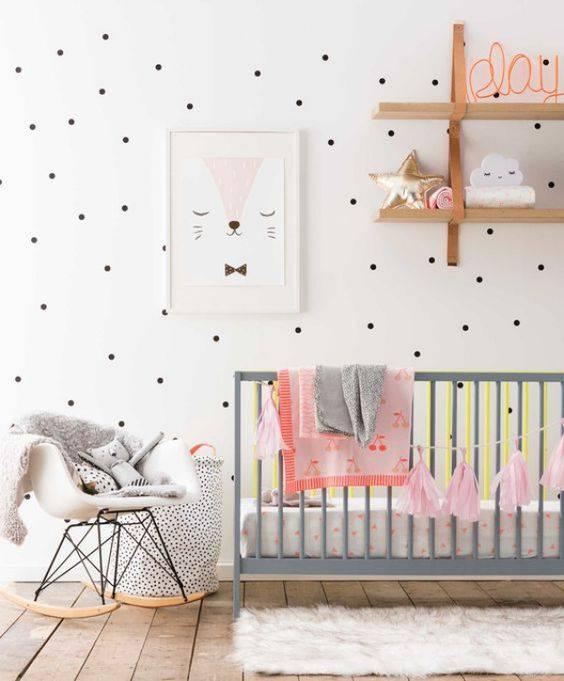 Temas para quarto de bebê rosa, cinza e branco