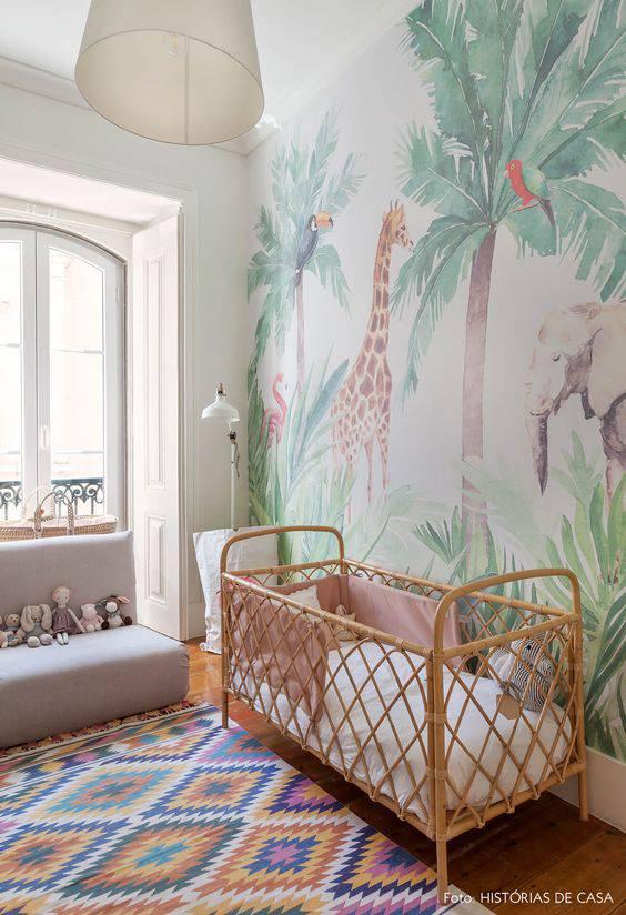 Temas para quarto de bebê com parede safári