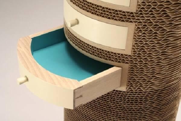 Gaveteiro especial com acabamento em papelão