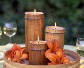 É possível criar lindos suporte de vela por meio do artesanato com bambu