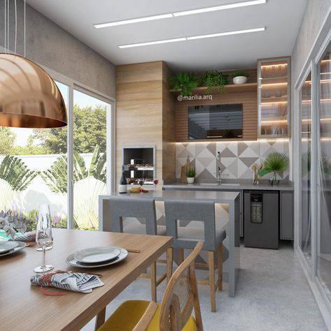 Decoração moderna na varanda com churrasqueira
