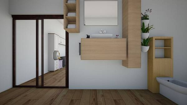 Banheiro com diferentes tipos de cactos