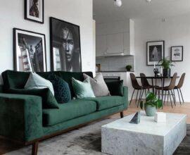 Decoração moderna para sala de estar com tapete cinza e sofá verde com várias almofadas. Fonte: Ten is Extreme Shop