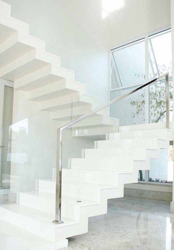 Escada de mármore - escada branca elegante