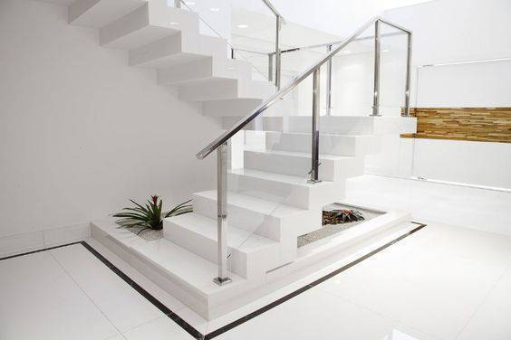 Escada de mármore - escada de mármore branco simples