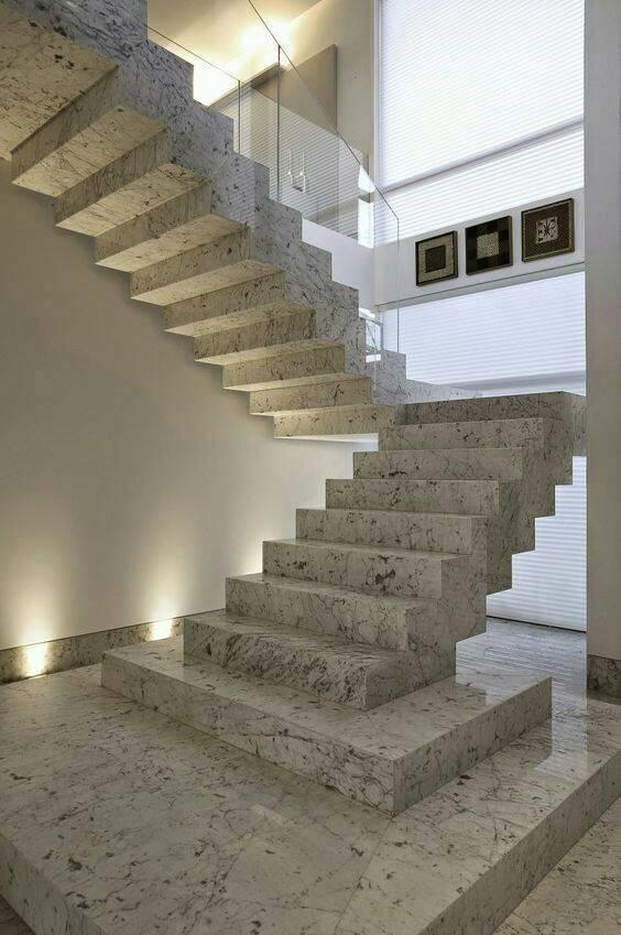 Escada de mármore - escada de mármore com degraus grandes