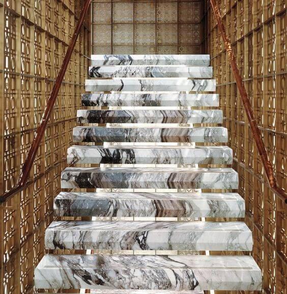 Escada de mármore - escada de mármore mesclado
