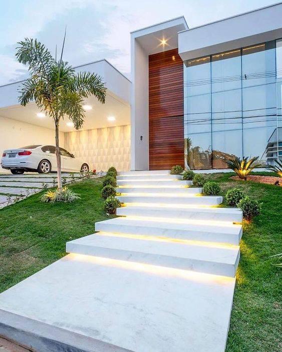 Escada de mármore - escada externa branca