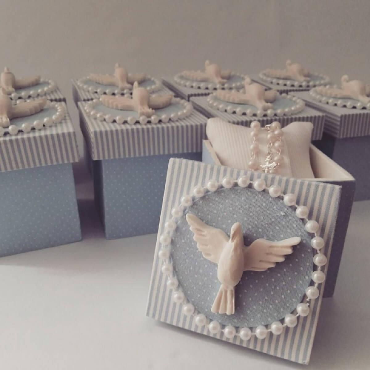 Ideia de lembrancinha de batizado azul e branco Foto Painel Criativo