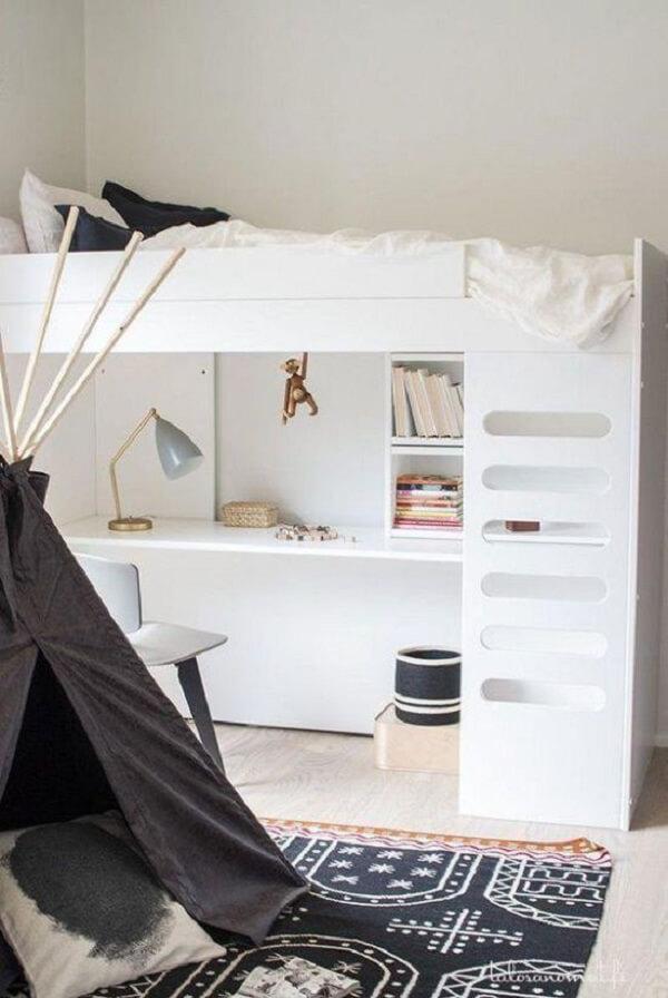Modelo clean de beliche com escrivaninha branca