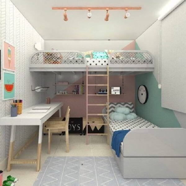 Projeto de beliche com escrivaninha planejada para duas irmãs