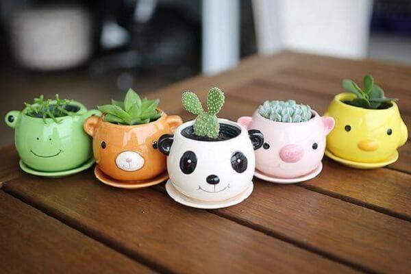 Vasinhos criativos para diferentes tipos de cactos e suculentas