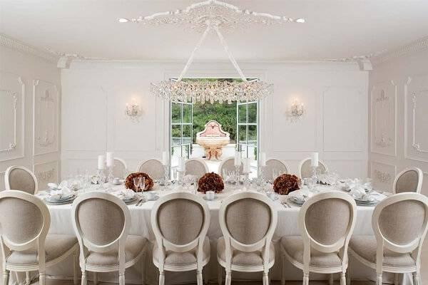 Decoração clean e elegante para as ala de jantar