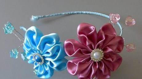 Acessórios para cabelo com flor de fita de cetim