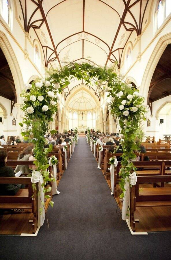 flower bow for wedding ceremony at church Photo Wedding Decoration