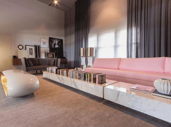sala de estar mármore carrara