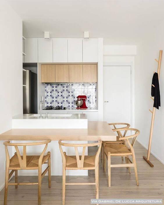 Balcão de madeira para cozinha moderna