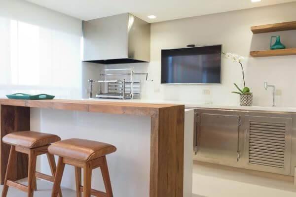 Bancada de madeira para cozinha de madeira