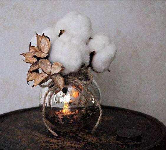 bodas de algodão - arranjo de algodão