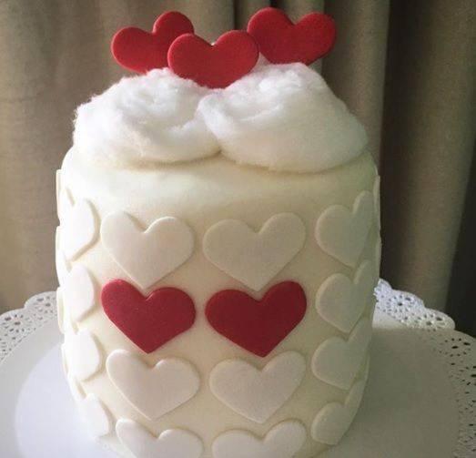 bodas de algodão - bolo branco para boda