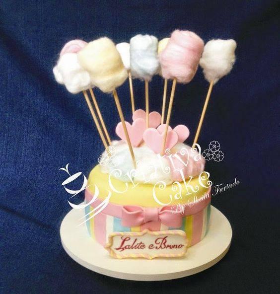 bodas de algodão - bolo colorido com algodão doce
