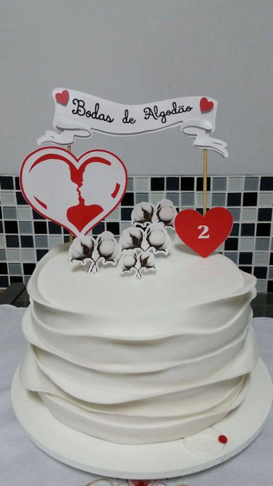 bodas de algodão - bolo de bodas de algodão