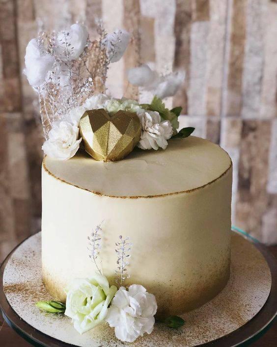 bodas de algodão - bolo para bodas de algodão