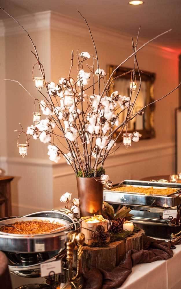 bodas de algodão - bufê com decoração em algodão