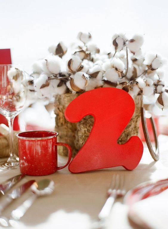 bodas de algodão - decoração de mesa de algodão