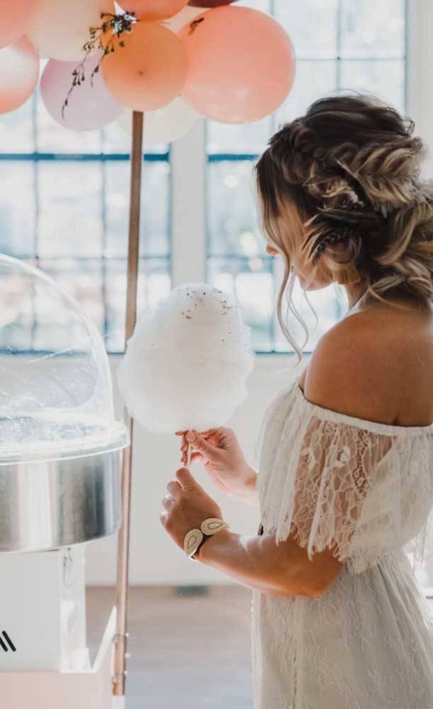 bodas de algodão - festa com algodão doce