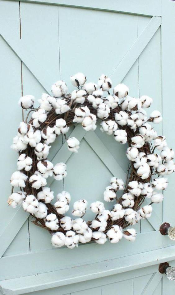 bodas de algodão - guirlanda para porta