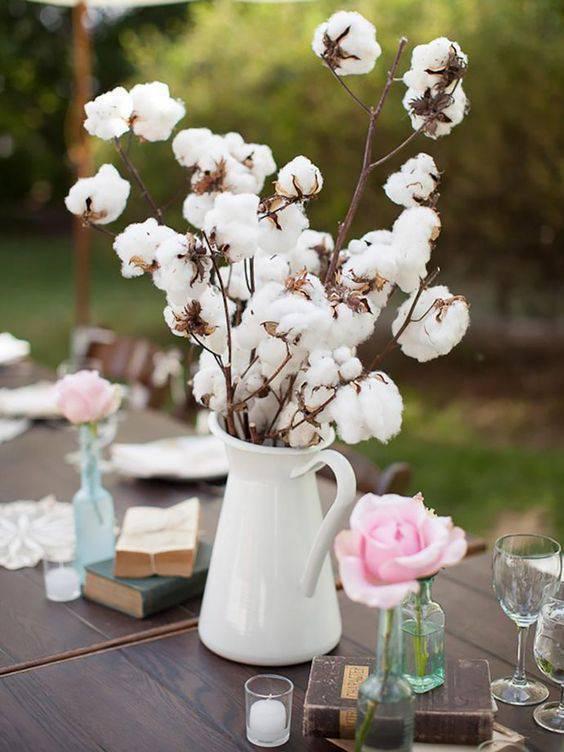 bodas de algodão - mesa com algodões