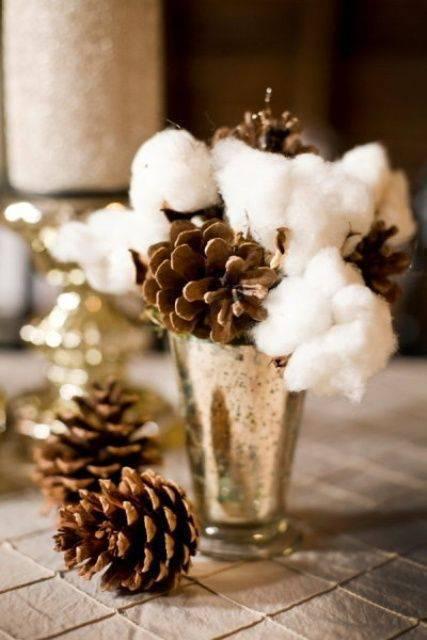 bodas de algodão - mesa com arranjo de algodão