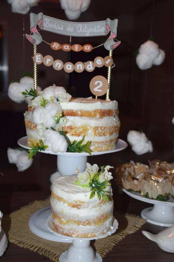 bodas de algodão - mesa de bolo para bodas de algodão
