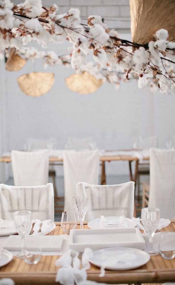 bodas de algodão - mesa de convidados com decoração