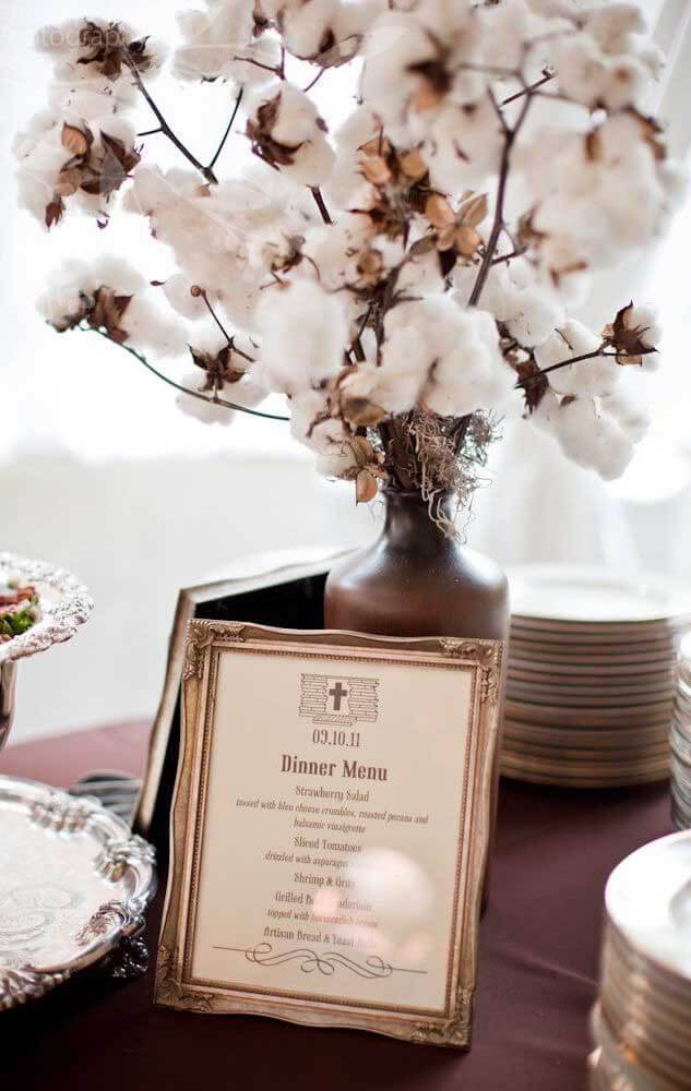 bodas de algodão - mesa de jantar com cardápio