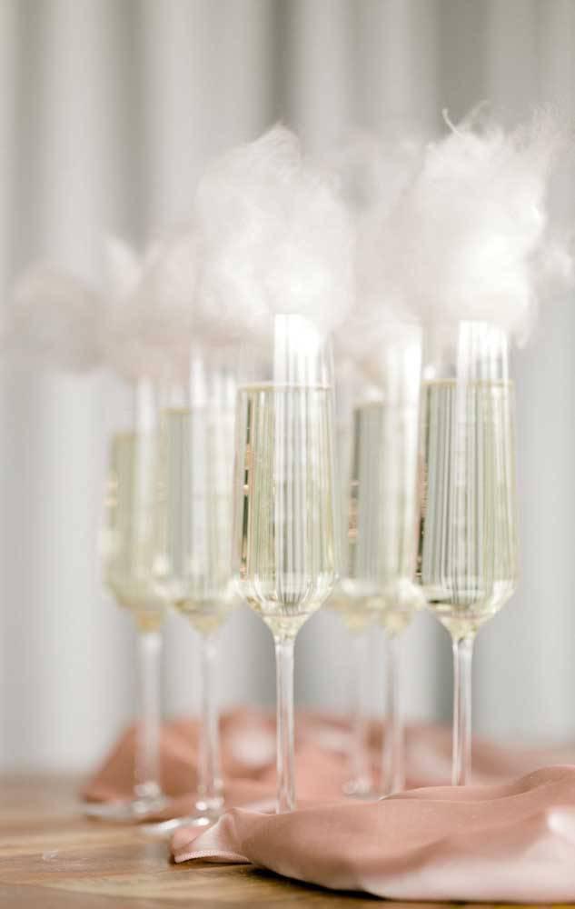 bodas de algodão - taças com detalhes em algodão