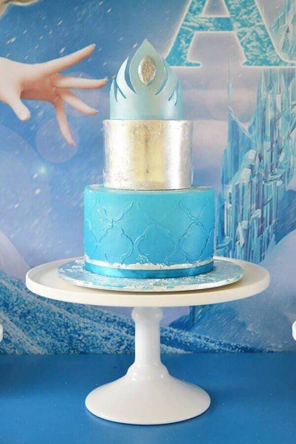 Frozen 2-story simple cake with crown on top Photo Kara's Party Ideas
