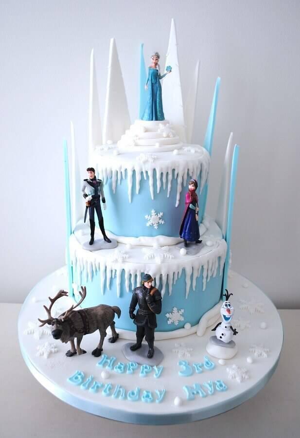 bolo da frozen decorado com bonecos dos personagens Foto Fiesta Ideas