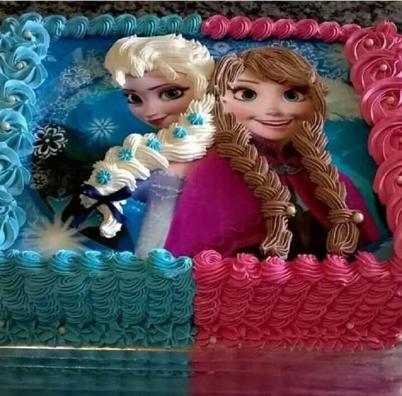 bolo da frozen simples azul e rosa Foto Criatividade de Bolo