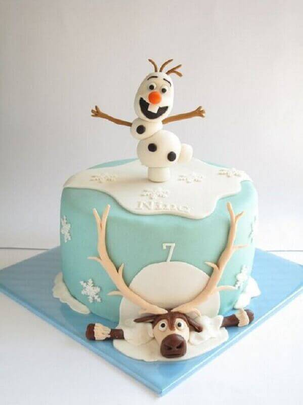 bolo da frozen simples decorado com pasta americana Foto Pinterest