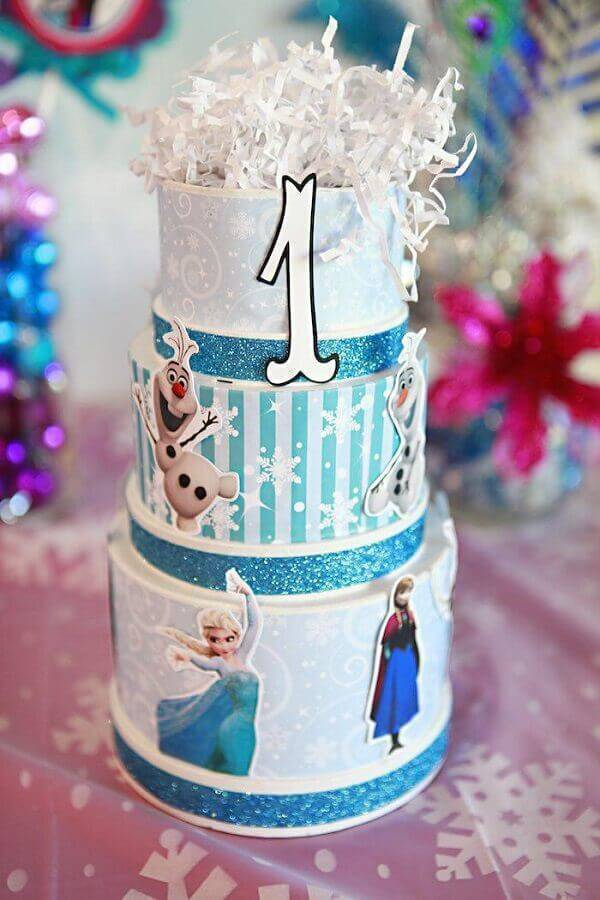 Photo Kara's Party Ideas Frozen Simple Fake Cake