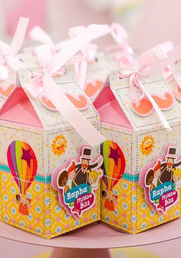 caixinha para lembrancinhas de festa do mundo bita rosa Foto Casa e Festa