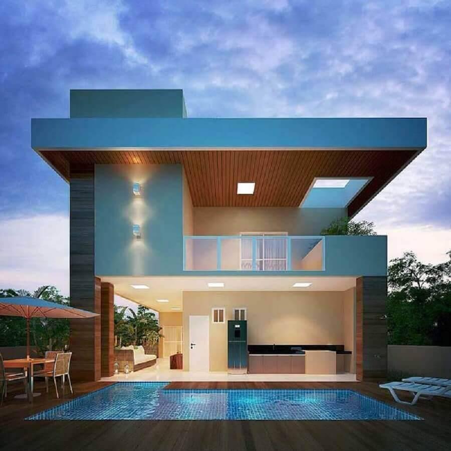 casa linda e moderna com piscina e revestimento de madeira Foto Revista Ambientes