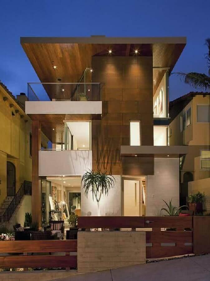 casas lindas e modernas com revestimento de madeira para fachada Foto Tudo Construção