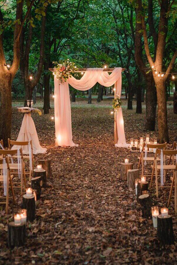 outdoor wedding ceremony at night decorated with candles Photo Etsy