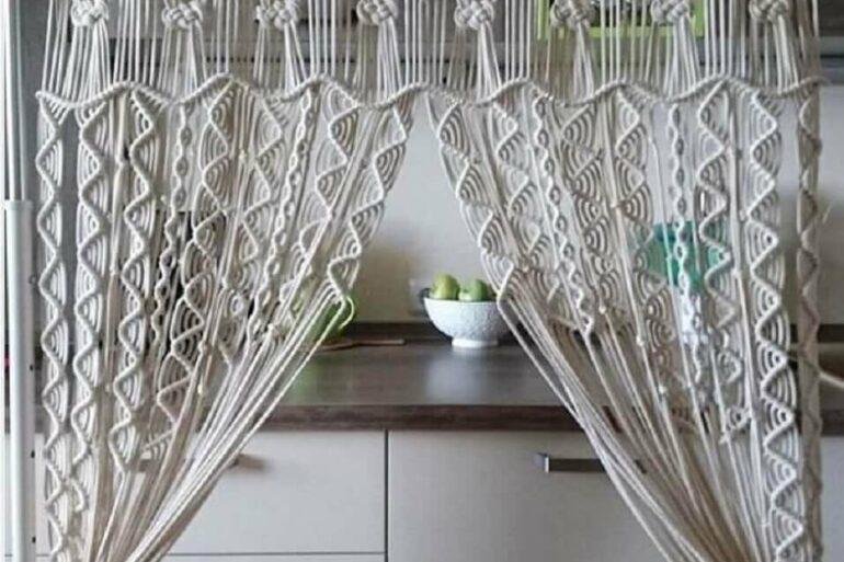 cortina de crochê para decoração Foto Etsy