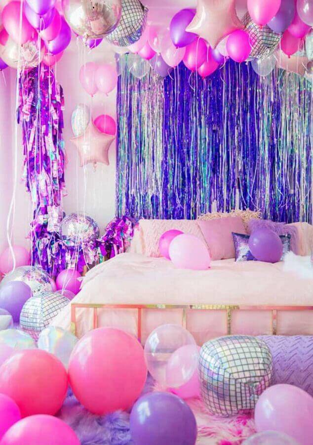decoration with pink and purple balloons for surprise party Photo Home Fashion Trend